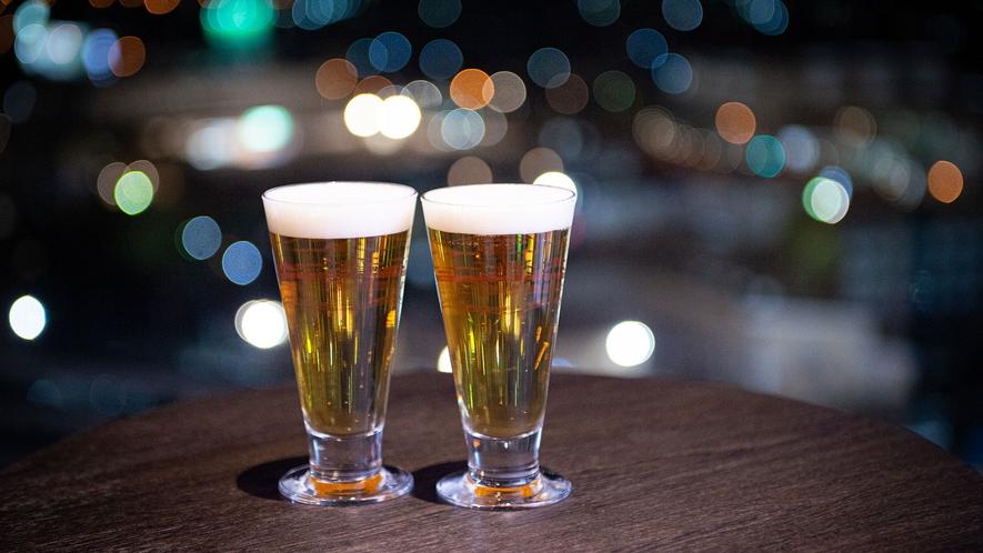 【SKY SALON BOUKYOU】湯上りに生ビールなどの冷たいお飲み物を召し上がりください。