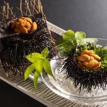 【殻付き雲丹食べ比べ】ウニのお刺身と、香ばしさが食欲をそそる焼きウニ、2種類を食べ比べ。
