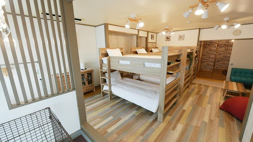【二段ベッド】最大6名様まで宿泊可能★広々としたおへやでゆったりペットと同伴可能です♪