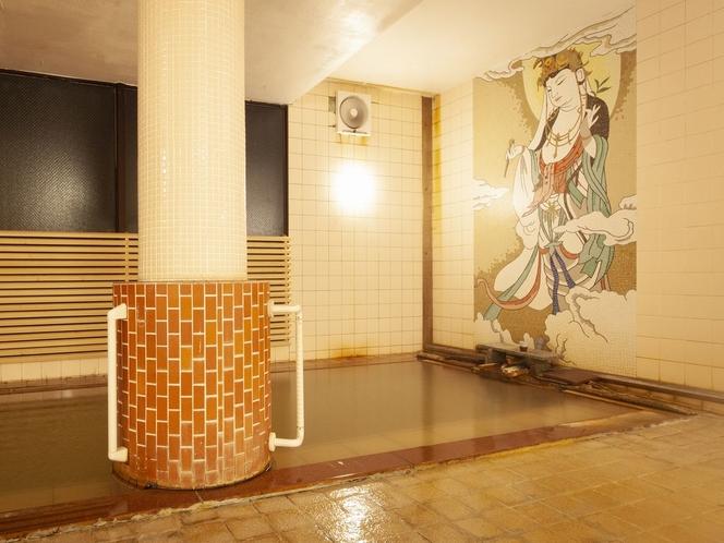 リニューアル 源泉掛け流し!熱塩温泉の壁画風呂湯船