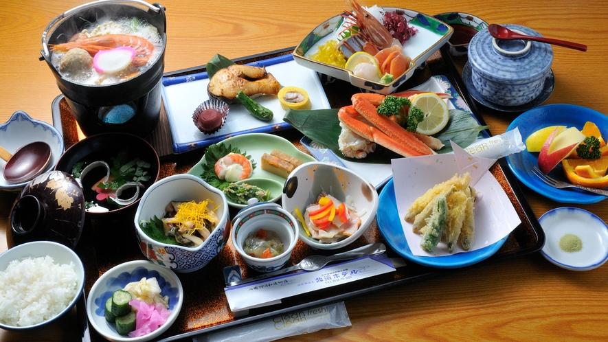 夕食【竹】食材にこだわった「満喫御膳」一例