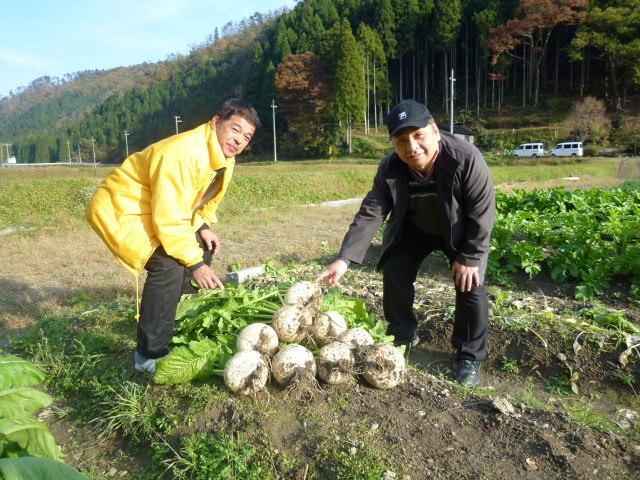 無農薬栽培美山の契約農園さんで新鮮な野菜を仕入れる料理長です