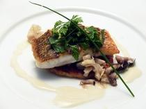 真鯛のポワレ、茸の焼きリゾットと共に(2013秋)
