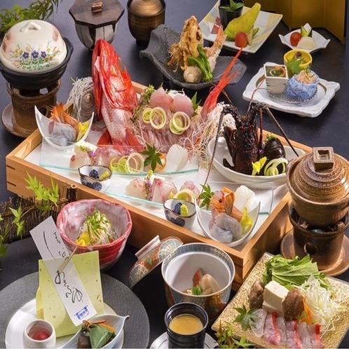 伊勢海老のお造り、鮑の踊り焼き、金目鯛のしゃぶしゃぶ伊豆を代表する3大味覚を取りそろえた豪華版