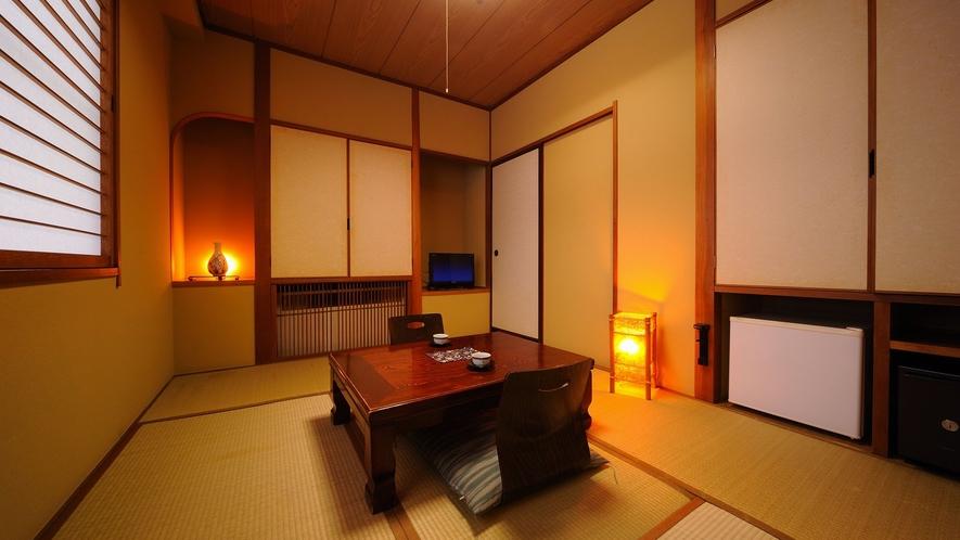 お一人様用の6畳間客室。個別空調。※洗面台なし