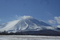 冬の浅間山(大好きな牧草地から)②