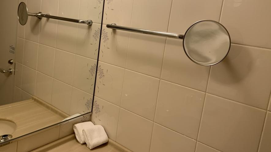 バスルームに拡大鏡を設置しております。