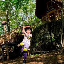 軽井沢おもちゃ王国「わくらく大冒険の森」(ジップロープ)