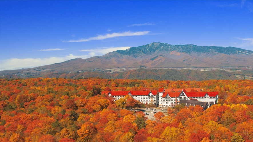 秋の紅葉に抱かれたホテル外観