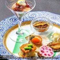 ご夕食(例)風味が鮎にマッチした山椒煮がおすすめ。その他も日本酒によく合う品々を取り揃えました。