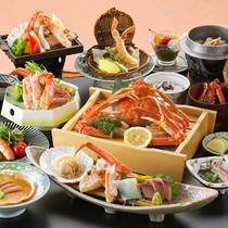 【カニづくし御膳】本ズワイ蟹1杯、焼き蟹、蟹の刺身等、蟹づくし内容です。