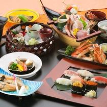 【上生寿司・鮑・ノドグロ・蟹グルメプラン】上握り寿司と幻の高級魚ノドグロ、更にアワビも