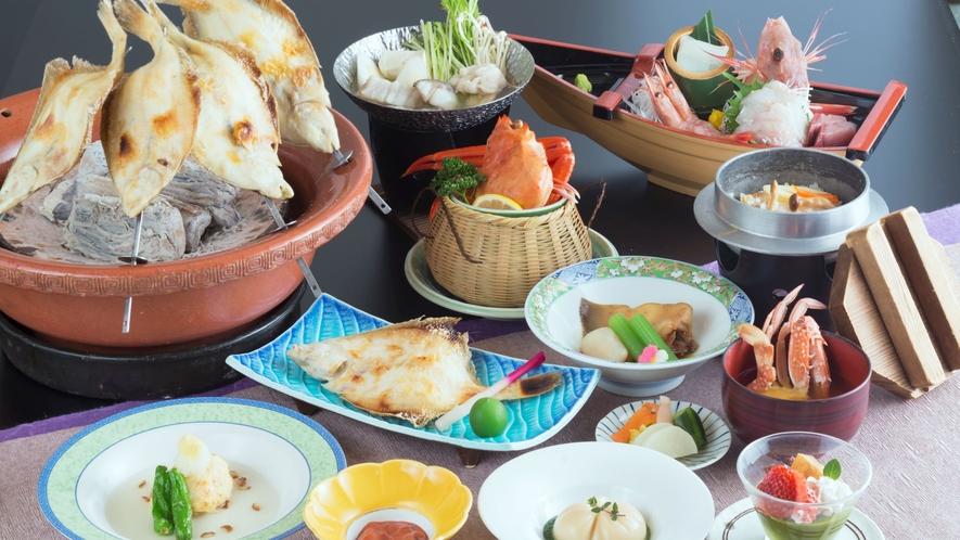 【つわぶきプラン】地魚の浜焼など海の幸を楽しむお料理。