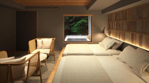 孔雀殿『羽伸〜UNO〜』B:温泉露天+ベッド付和洋/19平米
