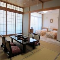 5階和洋室の和室12畳、ベッドルームの2Rタイプのスイートです。