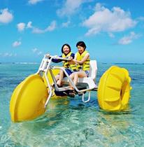 海の上でサイクリング/アクアサイクル