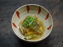 ウコン豆腐とアマゴのあんかけ