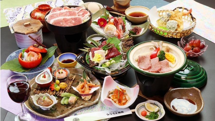 """◆""""鴨すき""""と""""馬刺し""""+牛陶板焼きの三大味覚が贅沢なコースです!"""