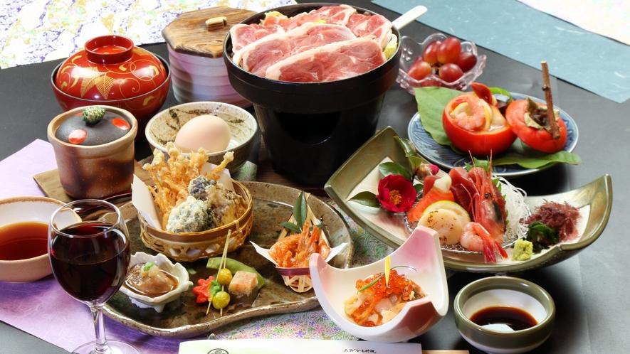 ◆ヘルシー会席◆名物゛鴨すき゛か゛鴨みそ゛のお鍋のいづれかをチョイスしてくださいね♪
