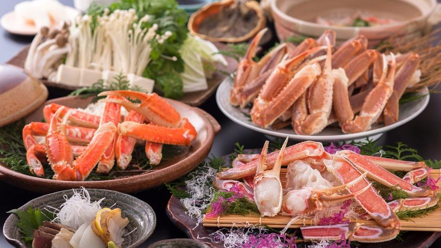 ・冬のカニ刺し付蟹すきプラン一例