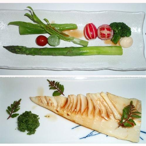 *【夕食一例】大アスパラと茎レタス/焼き新タケノコの山椒味噌添え