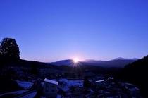 北信五岳に沈む夕陽