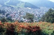 つつじ山から臨む野沢温泉村