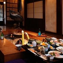 【別邸食事処】 囲炉裏端又は個室となります。※食事場所は選べません。