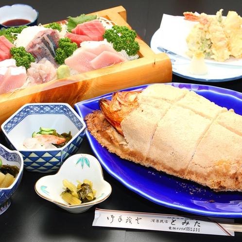 金目鯛の塩釜焼きがドーンとついた豪華な夕食♪