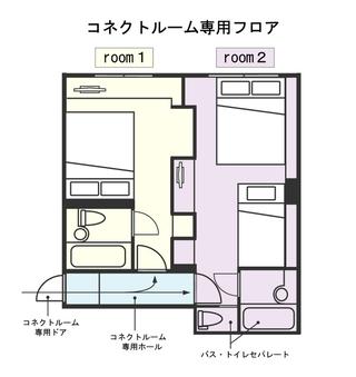 【禁煙室:コネクト】ドアtoドアコネクトルーム角部屋×2室