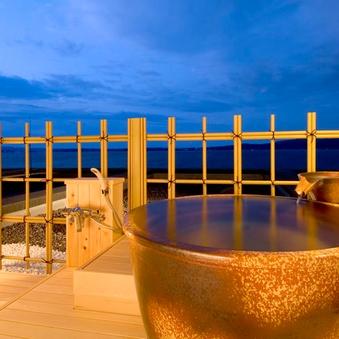 海の見える露天風呂(温泉)付客室☆お部屋で豊富な源泉を満喫