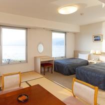 ◇和洋室(和室6畳+ツインベッド・湖側上層階)