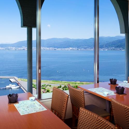 10Fレストランからの諏訪湖の景色