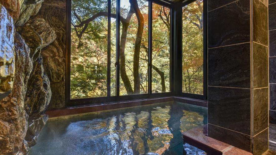 *【紅葉】渓谷美に包まれる温泉浴場