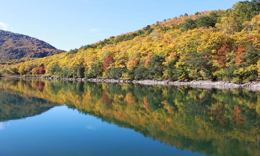 【秋】水辺に移る紅葉が美しいです