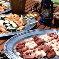 ■【夏・BBQ】串にさしてお出しします。ジュージュー焼いてお召し上がりください。