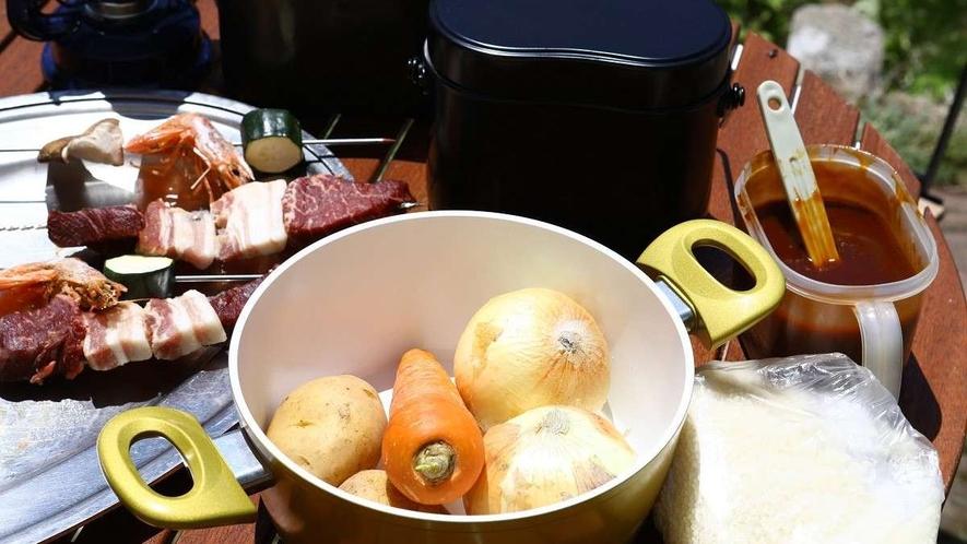 カレー作りと飯ごう体験ができるプランもございます。高原で食べる手作りカレーは格別です!
