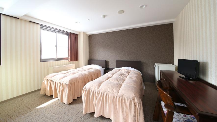 【かもしか館■洋室ツイン(バス付)】フランスベッドでぐっすり♪