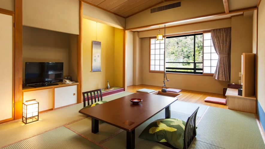 囲炉裏風板敷広縁付き客室