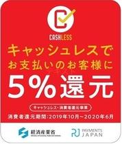現地キャッシュレス決済にて5%還元(2020年6月まで)
