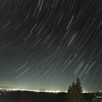 福島の夜景と星空 ATOMAの玄関から