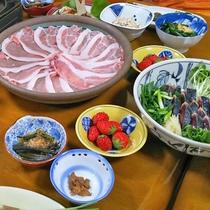 *【夕食一例】福島ブランド豚である「えごま豚」を使用したしゃぶしゃぶ