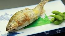 ■【夕食一例単品】鮎の塩焼き-やっぱりお酒が合います。