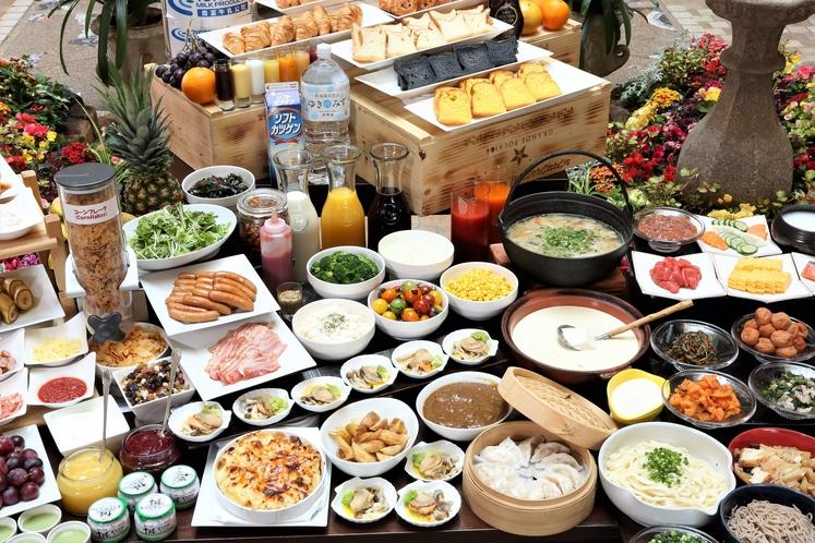 北海道産の食材をメインにした約40品目の和洋食バイキング(イメージ)