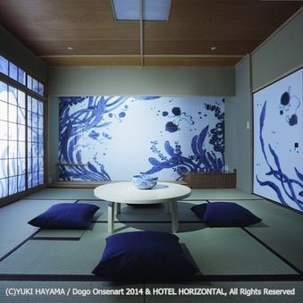 泊まれるアート作品 葉山有樹「藍」inふなや★DX和洋室