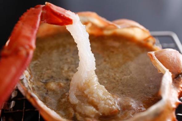 朝夕お部屋食【地物香住ガニお1人様2.5杯★】香住カニ刺し、鍋、ゆで、焼き、甲羅焼き付き