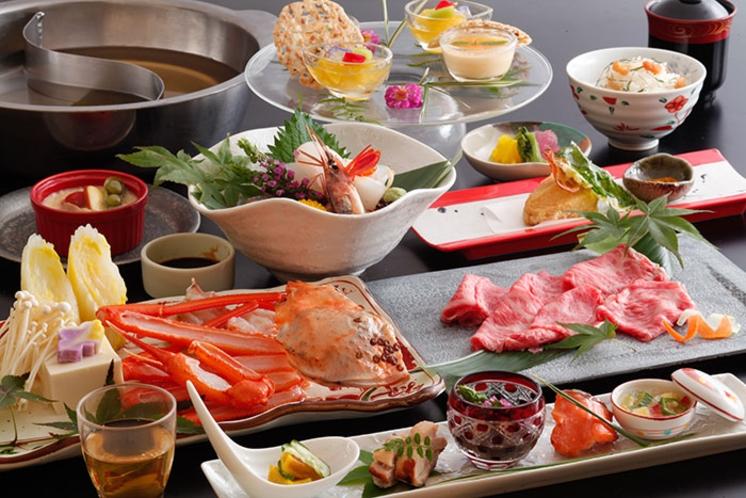 夏/但馬牛と香住蟹のダブル鍋コース