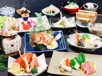 【冬の豪華味覚会席】「牡蠣、鱈白子、寒鰤の宝石鍋」「村上牛」「かさご」「ずわい」