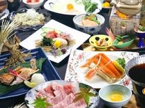 【秋の極上贅沢味覚会席】「A4村上牛すき焼き」「松茸土瓶蒸し」「かさご姿焼き」そして「ずわい蟹」
