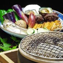 *【冬のお料理 炙り焼き】1 日本海の海鮮素材と地物の野菜を使い、炙り焼きをお楽しみください。